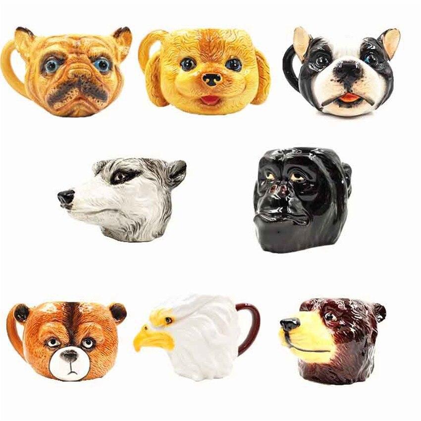 1Piece 3D Animal Ceramic Shaped Coffee Mug Bulldog Bear Dog Orangutan Eagle Milk Water Drink Cup Mug Creative Camera Mug