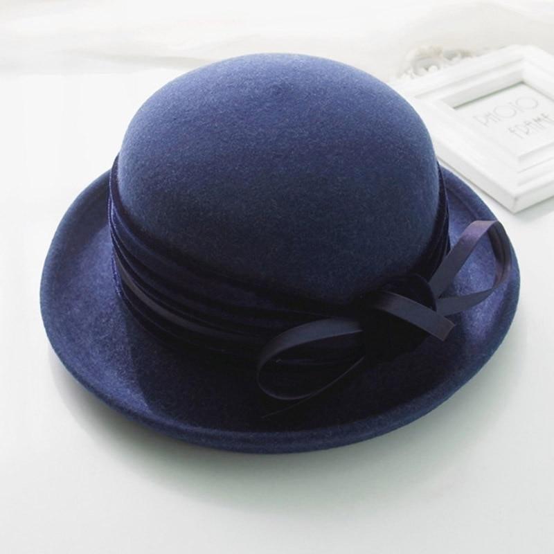 32bf035ae6c9b4 FGHGF Elegant 1920s Vintage Style Satin Bow knot Wool Cloche Hat Women Wool  Felt Bucket Bowler