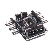 1 ila 8 yollu Splitter soğutucu soğutma fanı Hub 3pin 12V güç soket PCB adaptörü 2 seviye hız kontrolü PC bilgisayar IDE Molex