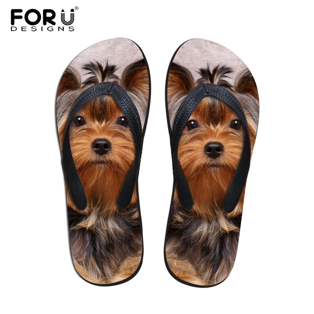 FORUDESIGNS 2018 Fashion Summer Beach Flip Flops Կանացի հողաթափեր Cute 3D Pet Cat Dog Dog Terrier Printed Sandals Lady Flats Shoes