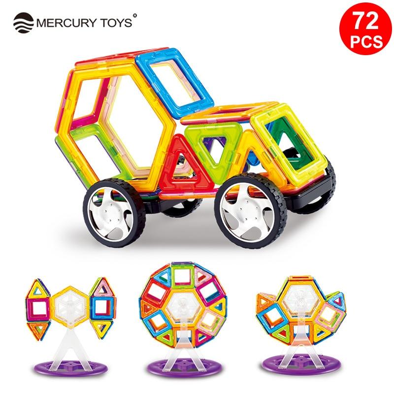 купить 72PCS/Set Standard Size Magnetic Designed construction Blocks Big Size 3D Model Magnet Building Bricks Children Educational Toy онлайн