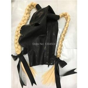 Image 3 - Nieuwe hot sexy exotische vrouwen vrouw meisje Latex Masker Twist vlechten vrouwelijke pigtail hoods Fetish cekc uniform hoofddeksels zentai