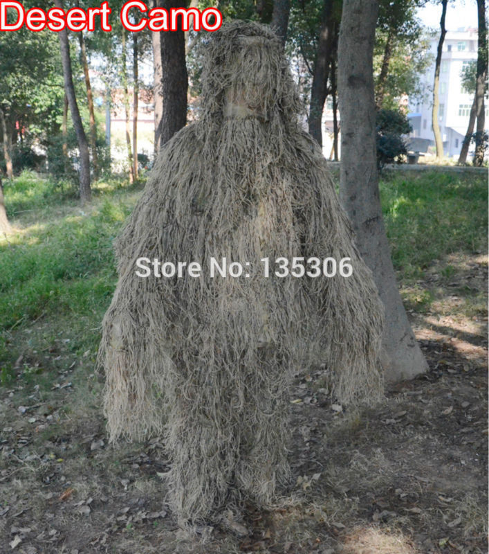 TPRPST 3D Withered Grass Ghillie Suit 5 PCS Sniper Military Tactical Camouflage Clothing Hunting Suit Army Hunting Clothes NL320-in Hunting Ghillie Suits from Sports & Entertainment    3