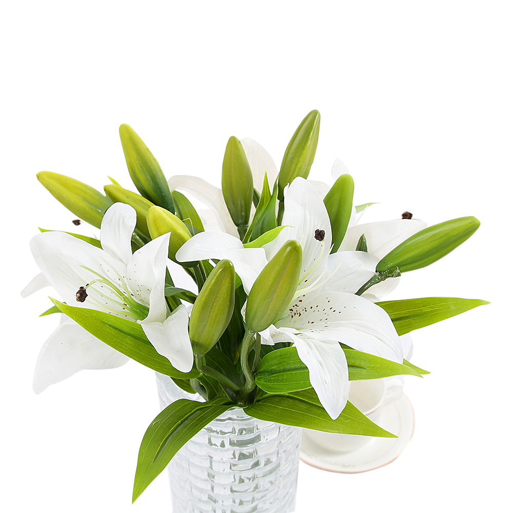 1Pc(1 flower + 2 Head  bud) Pvc Perfume Lily Fresh Style Desk Ornaments Artificial Flowers Home Decor Wedding Romantic Props P20