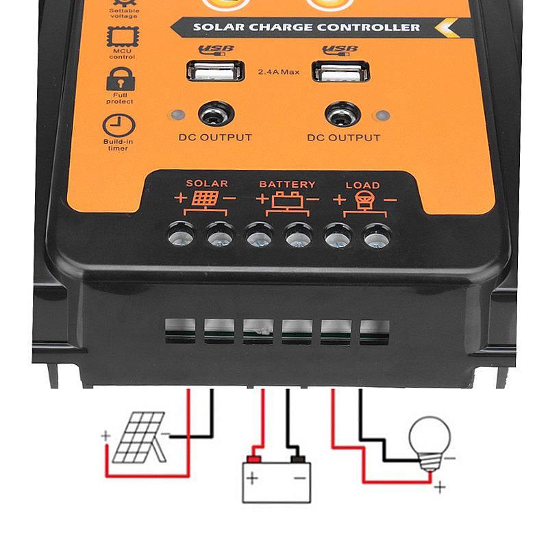 bateria pwm display lcd coletor solar regulador dupla saída usb