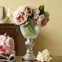 Современная Классическая Высокая имитация костюм с цветочным узором серебро снизу стекло Кубок + 3 букет из пионов ваза для цветов