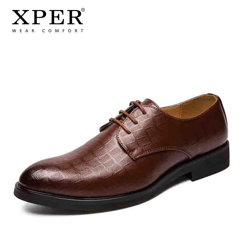 Мужские модельные туфли XPER, брендовая официальная Свадебная обувь ручной работы, Мужская обувь для бизнеса, черная искусственная кожа, боль...
