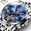 NIBOSI Skeleton Automatic Mechanical Watches For Men Full Steel Strap Clock Luminous Luxury Watch Men S