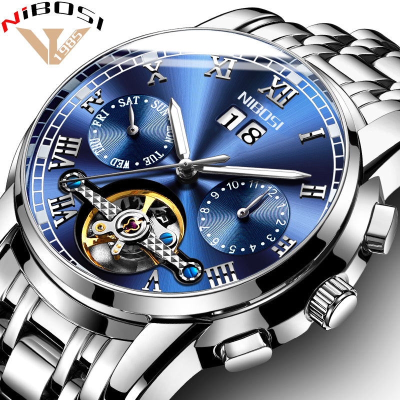 NIBOSI Skeleton Automatic Mechanical Watches For Men Full Steel Strap Clock Luminous Luxury Watch Men
