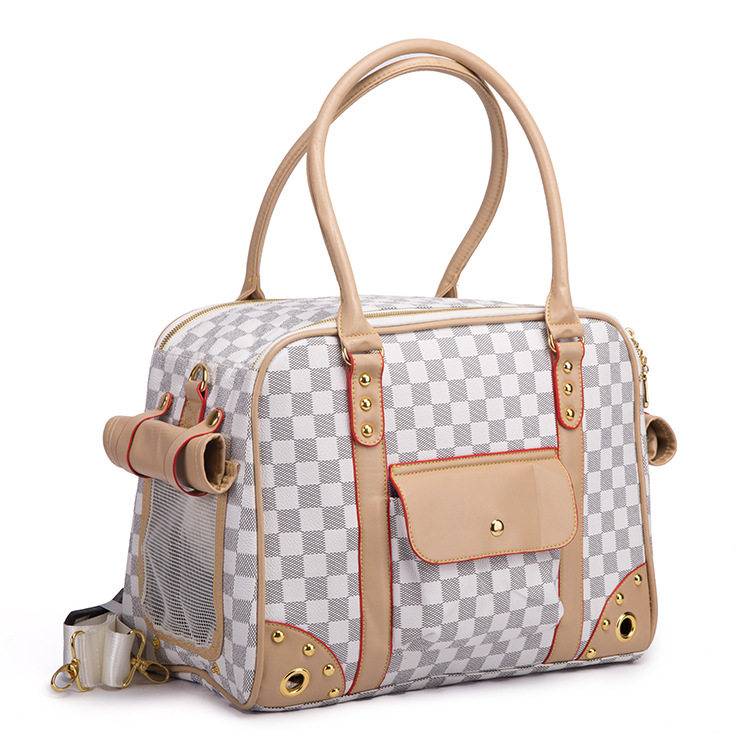 Embossing High End Pet Bag Car Carrying Multifunctional Dog Travel Brand Carrier Bags For Small Dogs Coffee White In Carriers From Home