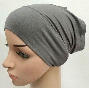 Image 5 - מודאלי כותנה רגיל מוצק צבע פנימי כובע תחבושת מוסלמי underscarfs חיג אב