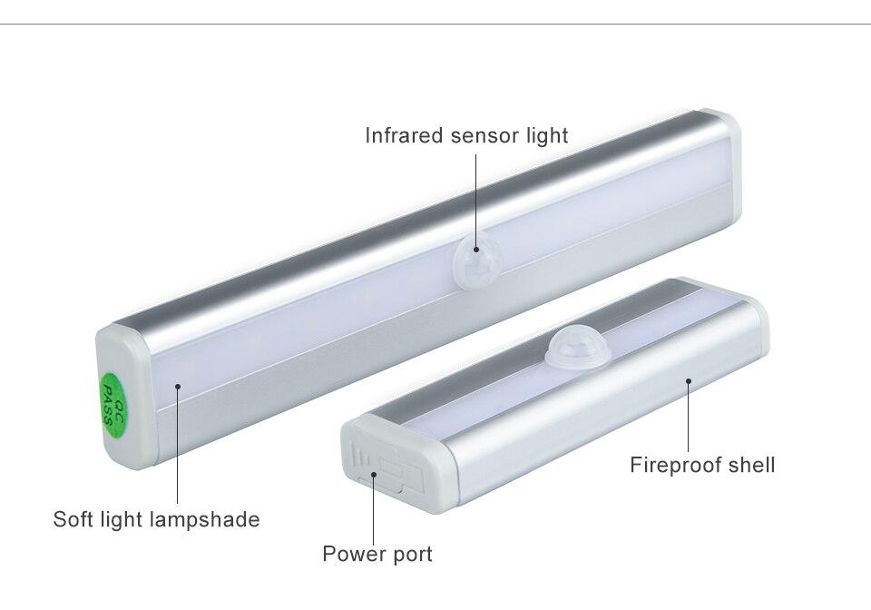 LED Emergency Lighting Light PIR Motion Sensor Lamp 610 LEDs lighting for Wardrobe Cupboard Closet Kitchen night light (3)
