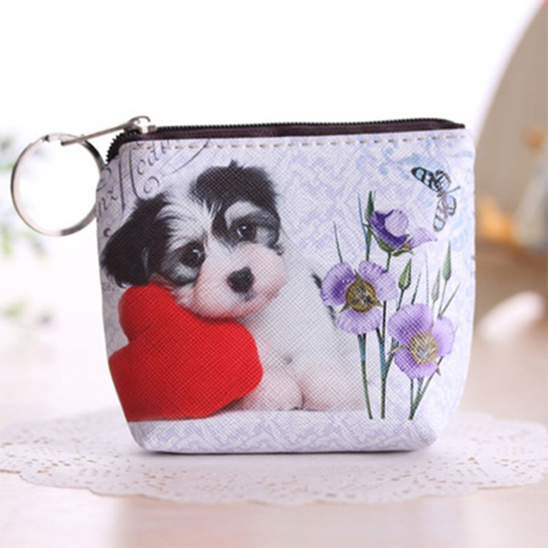 Mini Fashion Cute Animals Face Zip Coin Purse Card Holder Key Ring Wallet Pouch Bag 2017 Leather Brand New Lovely Small Bags