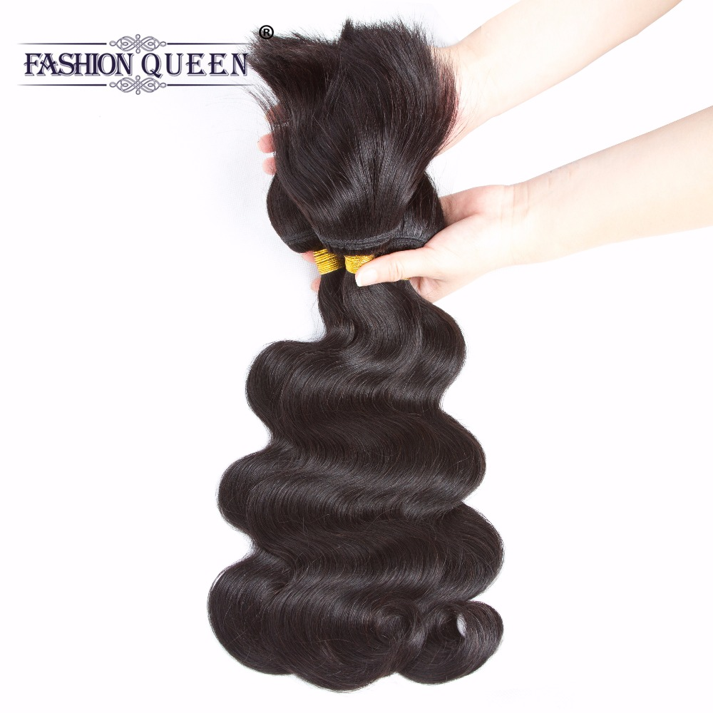 Fashion Queen Hair Braid in Bundles 7A Malaysia Body Wave Human Hair 3 Bundles 120g/Pc B ...