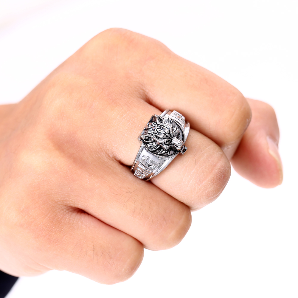 Cosplay Online Game Final Fantasy Fashion Men Jewelry Anime Wolf Ring Punk Silver Rings Accessories Cosplay