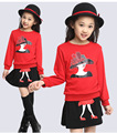 Children Clothing Set Kids Girl Clothes 2016 Queen High-heeled Shoes Print Sweatshirts + Skirts Tracksuit Girls Clothing Sets