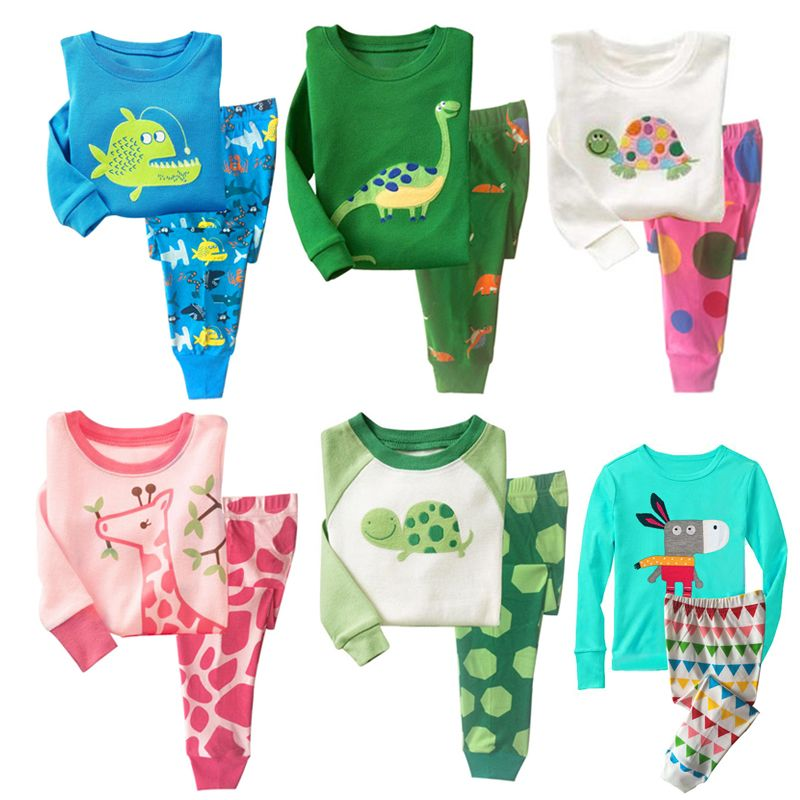 FANCYINN Baby Boys Girls Cartoon Pajamas Suits Kids Pjs Set Turtle Dinosaur Childrens Sl ...