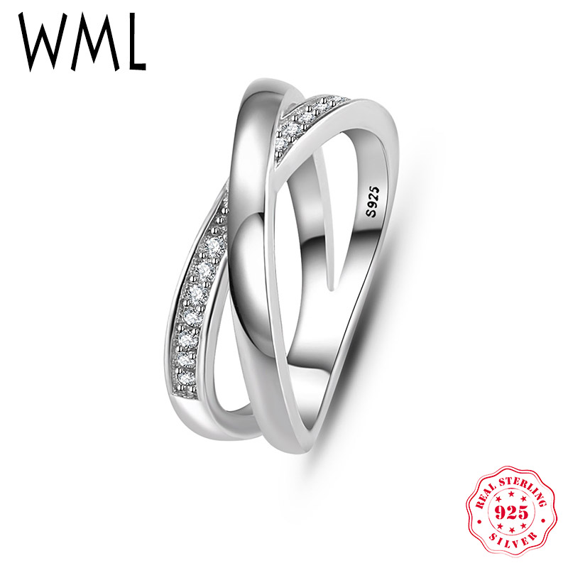 WML Luxury Authentic Solid 925 Sterling Silver criss cross CZ Finger rings for Women Wedding Engagement ring Fine Jewelry RJ709