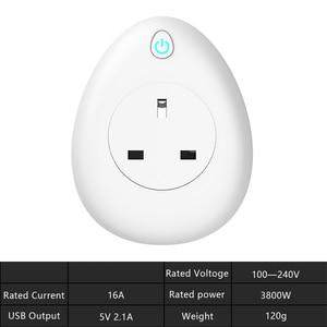 Image 5 - Wifi умная розетка с бесплатным подарком зарядный кабель 16A США ЕС Великобритания Индия Израиль Разъем голосовой пульт дистанционного управления работа с Alexa Tuya App