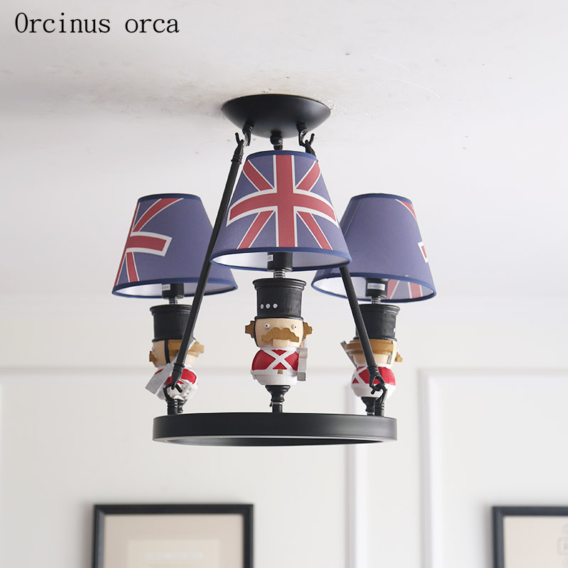 British Creative Soldier Chandelier Boy Bedroom Children's Room Lamp American Style Cute Doll Pendant Lamp Free Shipping
