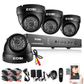 ZOSI 8CH CCTV System 960H DVR 4PCS 1000TVL IR Weatherproof Outdoor CCTV Camera Home Security System Surveillance Kits