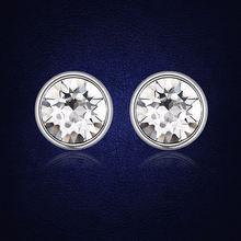 Серьги женские круглые серебристые с кристаллами Сваровски 7