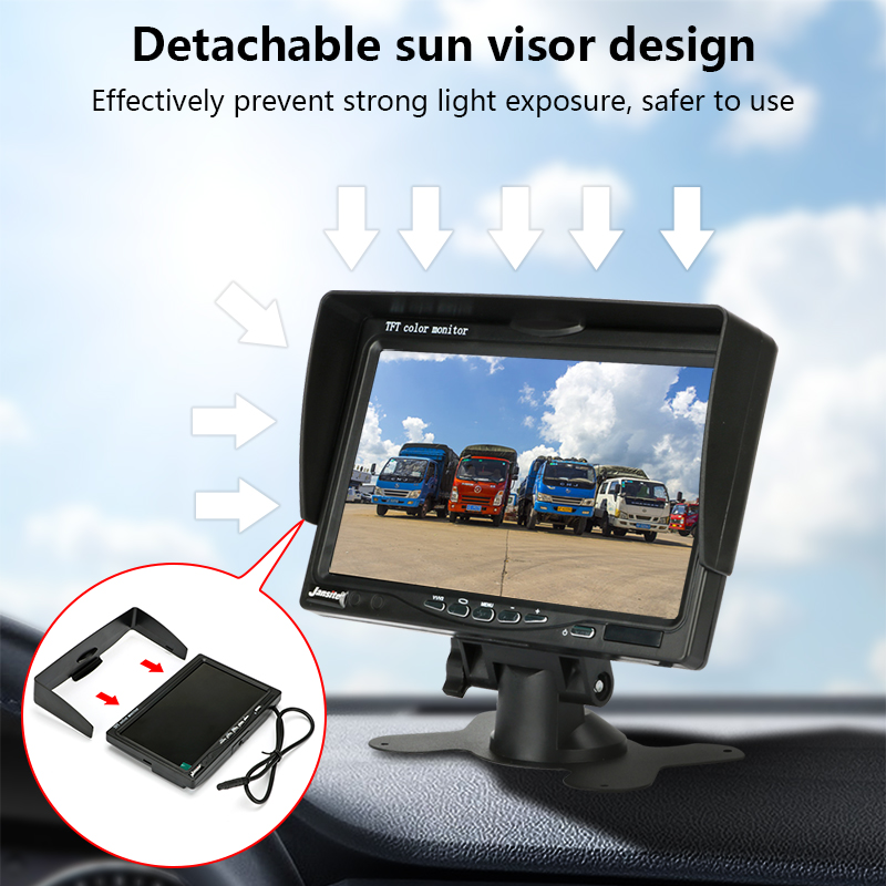 Jansite 7 quot Wired Car Monitor TFT LCD Car Rear View Camera Parking Rearview System with Sun Visor Waterproof for Truck Bus in Car Monitors from Automobiles amp Motorcycles