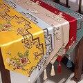 Классический пэчворк китайский цветок красный Настольный дорожка желтый обеденный стол коврик кофейная скатерть рождественское место ков...