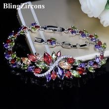 BlingZircons Sterling Argent 925 D'été Mignon Bijoux En Cristal Grande Fleur Cluster Coloré CZ Pierre Bracelet Pour Femmes B055
