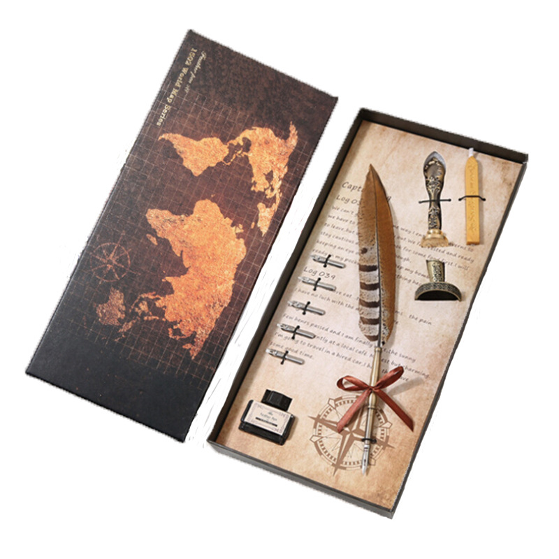 Antique feather pen Writing ink set stationery gift box 5 nib wedding gift feather pen Student gift Business gift