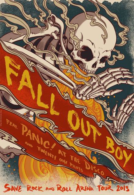 fall out boy rock band music star fabric poster decor in painting
