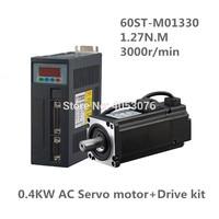 60ST M01330 220V 400W AC Servo motor 3000RPM 1.27N.M. Single Phase servomotor ac drive permanent magnet Matched Driver AASD 15A