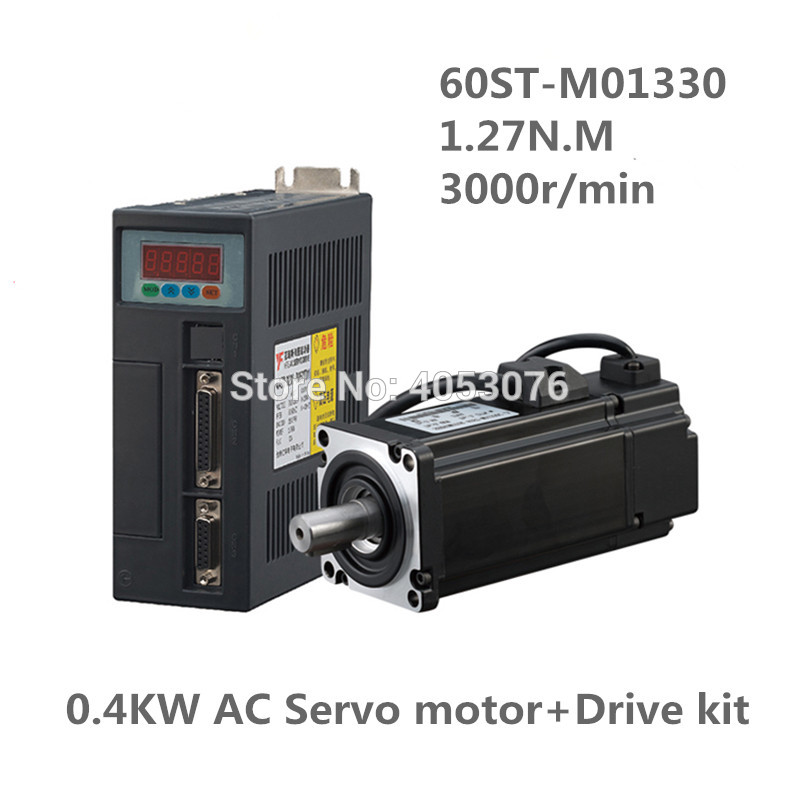 60ST-M01330 220V 400W AC Servo motor 3000RPM 1.27N.M. Single-Phase servomotor ac drive permanent magnet Matched Driver AASD-15A пылесборник filtero uns 01 3 экстра