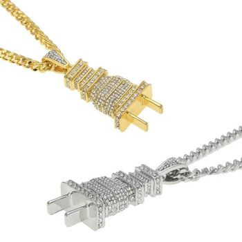 Hip Hop Gold Silver Rhinestone Electrical Plug Chains Bling Iced Out Jewelry Gifts Men Women Crystal Necklaces Choker 2C0205