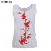 SEPTDEER Elegant Embroidered Floral Summer Sleeveless Tank Top Tees Causal Streetwear Big Size Women Tops Female
