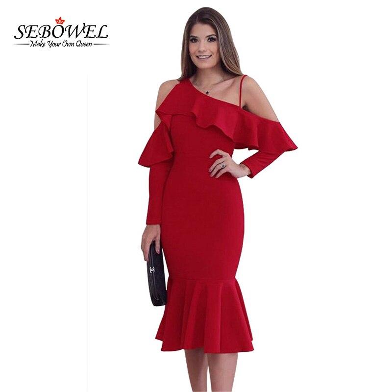 SEBOWEL Elegant Sexy Party Dress for Women Long Sleeve Asymmetric Slope  Shoulder Mermaid Ruffle Dress Slim Midi Vestidos 575878355d52