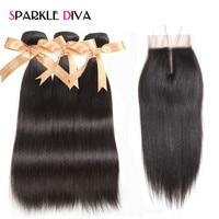 Sparkle Diva Peruvian Straight Hair 3 Bundles With Lace Closure Middle Part Non Remy Hair Bundles