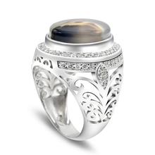 Mannen Ring 925 Sterling Zilveren Ovale Natuur Steen Cz Hollow Ontwerp Vintage Punk Vinger Ring Voor Man Party Mode sieraden fijne Ring