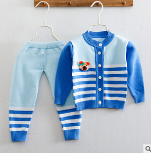 2016 New 2 pieces Cotton Autumn Winter Baby Clothing Set Bear  Suit Warm Tops Pants Infant Newborn Girl Boy Clothes Sets