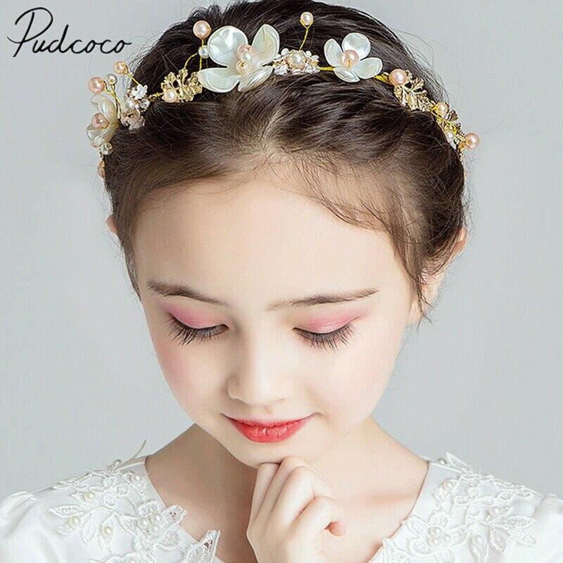 Girl Baby Newborn Infant Princess Pearl Crown Headband Hair Bow Band Photo Props