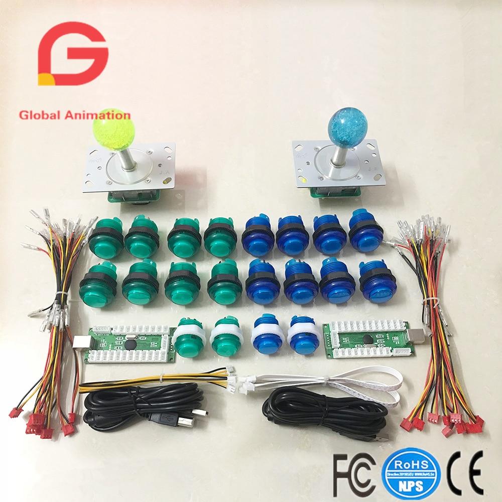 цена на 2 Player To PC Arcade Raspberry Pi Include 5V LED Illuminated Joystick + DIY LED Arcade Buttons +USB Encoder Kit Game Parts Set