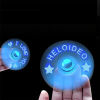 New Design Finger Fidget Spinner USB Android App Control LED Flash Word Light EDC Hand Stress