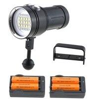 Bcmsjvh 25000lm 수중 비디오 다이빙 손전등 15x cree xml2 화이트 라이트 + 6 블루/uv 라이트 + 6 레드 라이트 다이브 토치 lanternas
