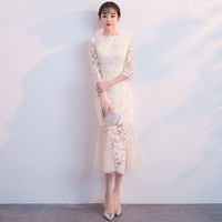 Elegant Women Solid Lace Cheongsam Vestidos Vintage Improved Qipao Classic Evening Gowns Oriental Female Party Mermaid Dress