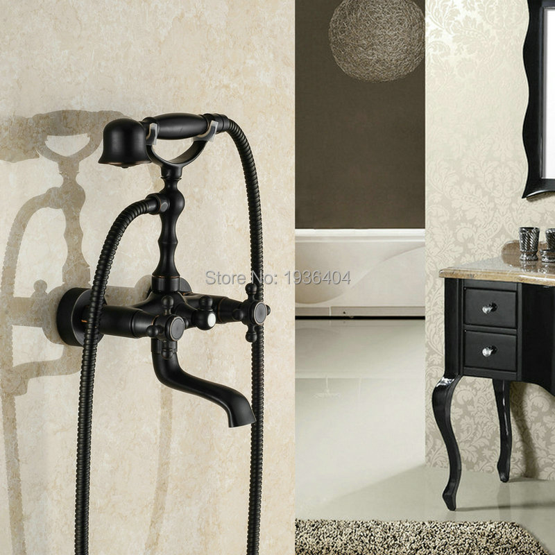Brass Black Bronze Shower Faucet Double Handles Phone Style Hot and Cold Water Mixer Black Oil Bronze Wall Mounted SF1029 free shipping new style black bronze copper folding kitchen faucet double handles for cold and hot water mixer xt509