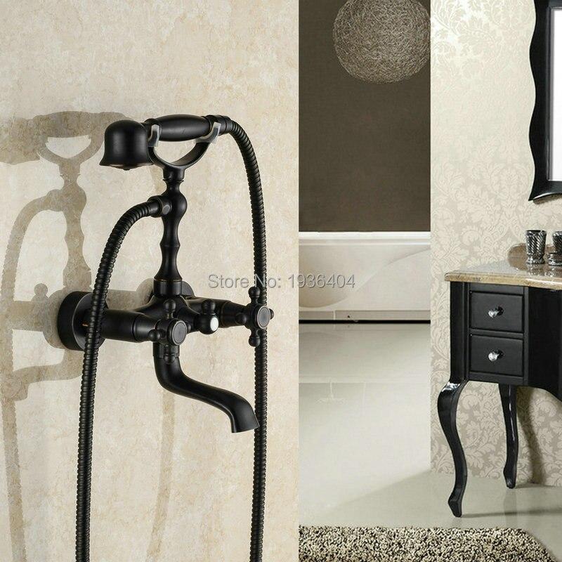 Robinet de douche en laiton noir Bronze Double poignées Style téléphone mélangeur d'eau chaude et froide noir Bronze à l'huile mural SF1029