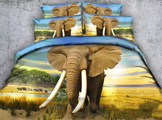 Nouvelle Arrivee 3d Elephant Africain Imprime Coton 4 Pieces