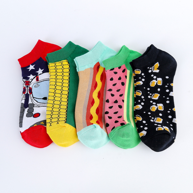 Jhouson New Arrival Men's Combed Cotton Summer Ankle  Watermelon Corn Pattern Colorful Novelty Casual Boat Socks 3