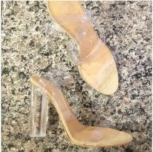 Kunststoff Klar Kim Kardashia 2016 Reales Bild Frauen Sandalen Transparent Platz Heels Schliesse armband Günstige Modest PVC Damen Schuhe