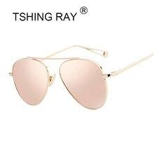82ea4b5fe2a85d TSHING RAY Vrouwen Rose Goud Spiegel Retro Luchtvaart Zonnebril Mannen Mode  Merk Designer Vintage Zonnebril Voor Vrouwelijke Man.